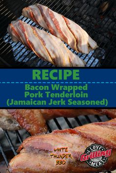 What could possibly make a perfectly cooked pork tenderloin even better? Bacon, of course! In this Bacon Wrapped Pork Tenderloin recipe we. Bbq Pork Tenderloin, Bacon Wrapped Pork Tenderloin, Jamaican Jerk Seasoning, Green Egg Recipes, Beef Bacon, Campfire Food, Smoked Pork, Jamaican Recipes, Grilled Pork