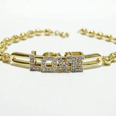 Pulseira Love cravejado com diamantes ouro 18k