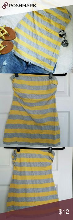 """SALE~GONE 10/31! Grey & Yellow Striped Tube Top Rugby striped tube top with built in shelf bra. Back  measures about 19.5"""" long. Wet Seal Tops"""
