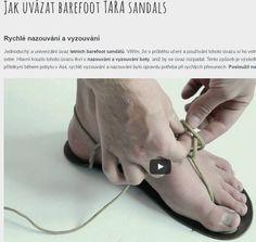 Jak uvázat barefoot TARA sandals, tkaničky dlouhé 1,5 m na každou botku