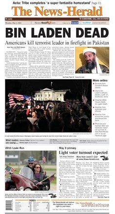 May front page: Osama bin Laden has been killed American History, War, News, Us History