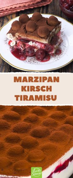 Marzipan cherry tiramisu - recipe for a fruity variant of the Italian dessert classic. - This recipe makes the dessert classic with marzipan and cherries. The creamy dessert is also perfec - Fancy Desserts, Classic Desserts, Holiday Desserts, Italian Cookie Recipes, Italian Desserts, Mexican Food Recipes, Pudding Desserts, Pudding Recipes, Dessert Recipes