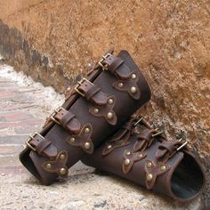 Oiled Brown Leather Bracers with Top Straps Scales by VampieOodles, $78.00