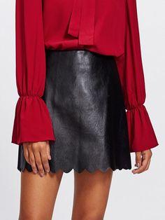 532269cea19dd Sheinside Scallop Hem Faux Leather Skirt 2017 Autumn Black Mini Skirt A  Line High Waist Women Elegant Short PU Skirt