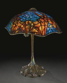 """** Tiffany Studios """"BAT"""" TABLE LAMP"""