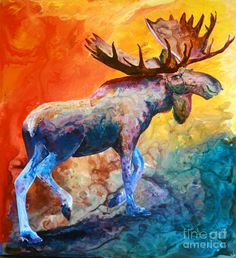 Moose Painting by Sherry Shipley - Moose Fine Art Prints and Posters for Sale
