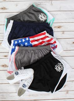 workin on that beach bod? Work in style in some monogrammed running shorts!