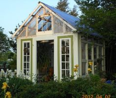 green house made from old windows | greenhouse made using old windows and french doors by jessesgirl1