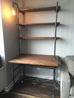 DIY pipe desk ideas are always needed, especially by those who love crafting stuff and making furniture on their own. Pipe desk is basically a kind of Diy Pipe Shelves, Desk Shelves, Storage Shelves, Pipe Shelving, Tall Shelves, Glass Shelves, Shelving Units, Storage Ideas, Wood Shelves