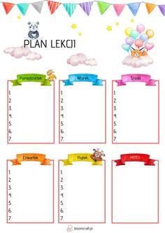 plan lekcji dla dziewczynki, plan lekcji, do druku; freebies Lesson Plans, Planer, Bullet Journal, How To Plan, School, Blog, Diy, Bricolage, Lesson Planning