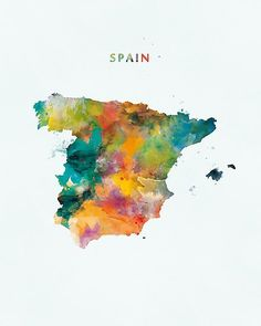 Spain (España) Map Art, Photographic Print at Redbubble <br> spain watercolor map Logo Instagram, Map Painting, Painting Abstract, Watercolor Map, Diy Blog, Instagram Highlight Icons, Photoshop, Travel Posters, Art Day