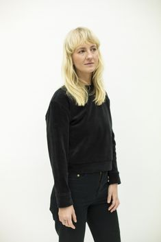 Black Velvet Crop Sweater - 2