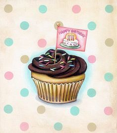 Happy Birthday cupcake print by Everyday is a Holiday