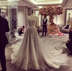 Occidental Bridal Dress | Stunning & Elegant | Beautiful Embroidery Work & Train