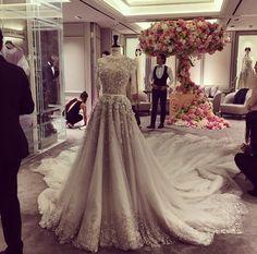 Occidental Bridal Dress | Stunning & Elegant | Beautiful Embroidery Work & Train Hijab Wedding Dresses, Tulle Wedding, Wedding Attire, Bridal Dresses, Wedding Gowns, Prom Dresses, Civil Wedding, Evening Dresses, Quinceanera