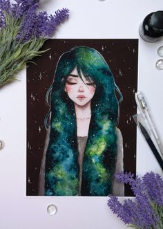 Galaxy hair girl available as a print on my Etsy!