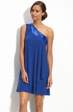 Sequin Trim One Shoulder Trapeze Dress