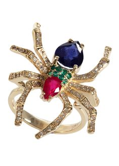 Spider ring in gold with gemstones by EFFY