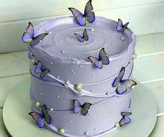 14th Birthday Cakes, Butterfly Birthday Cakes, Elegant Birthday Cakes, Beautiful Birthday Cakes, Butterfly Cakes, Birthday Cake Girls, Pretty Cakes, Cute Cakes, Simple Cake Designs