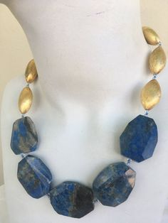 Lapis Gold Necklace, hand knotted, flat Blue Lapis Luzuli, almond shape, brush gold bead with 14 k gold filled findings and toggle Artisan Jewelry, Handcrafted Jewelry, Diy Necklace, Gold Necklace, Necklace Ideas, Gemstone Jewelry, Beaded Jewelry, Valentines Jewelry, Jewelry For Her