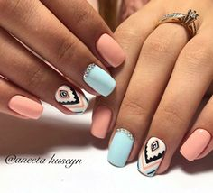 False nails have the advantage of offering a manicure worthy of the most advanced backstage and to hold longer than a simple nail polish. The problem is how to remove them without damaging your nails. Cute Acrylic Nails, Acrylic Nail Designs, Nail Art Designs, Aztec Nail Designs, Nails Design, Pastel Nail, Nail Art Ideas, Colorful Nail, Blue Nail