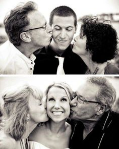 """Shot"" Bride with her parents Kiss Groom with his Parents kiss Love this idea!!"