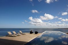 The spectacular lap pool at Playa Vik José Ignacio is cantilevered on an expanse of lawn along Uruguay's Atlantic coast.