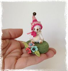 Mini Thread Artist Crochet Bear 'Strawberry Gumball""
