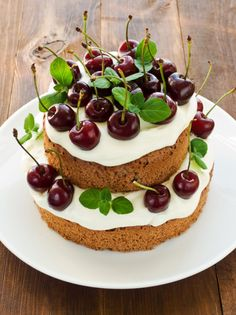 Gingerbread Cake w/ Sour Cream Frosting and cherries Cake