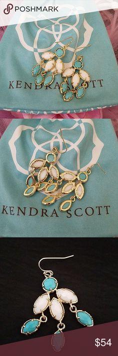 Kendra Scott chandelier earrings Kendra Scott Turquoise and white stones chandelier earrings. They're just lovely ❤️😍 Kendra Scott Jewelry Earrings