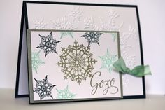 Navidad en tonos Azul, christmas card made with snowflake soriee from stampi up