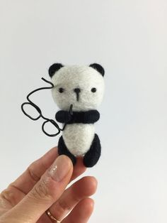 Needle Felted Panda with Wire Glasses Felted Panda by MossyMaze