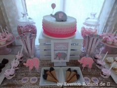 Ombre cake and dessert table at an elephant baby shower! See more party planning ideas at CatchMyParty.com!