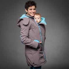 Liliputi® Babywearing Mama Coat - Grey-turquoise  http://www.liliputibabycarriers.com/babywearing-mama-coat/mama-coat-grey-turquoise Softshell, Vibrant Colors, Rain Jacket, Raincoat, Turquoise, Zipper, Grey, Elegant, Fabric