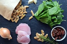 Fusilli, Vegan, Stuffed Mushrooms, Pasta, Vegetables, Food, Pickled Tomatoes, Dried Tomatoes, Meat