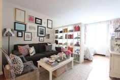 Jackie's Colorful Upper East Side Home - love the IKEA bookshelf as divider; lots of storage and doesn't block light...