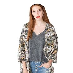 Sandistore Women Floral Printed Jacket Chiffon Kimono Cardigan Coat Tops Blouse L *** Click for Special Deals #CamiLaceTop