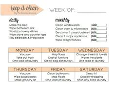Daily cleaning schedule. Keep organized and on track without the stress!