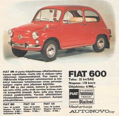 Vanhoja mainoksia: Fiat Fiat 600, Airstream, Vespa, Old Cars, Cars And Motorcycles, Finland, Nostalgia, Europe, Ads