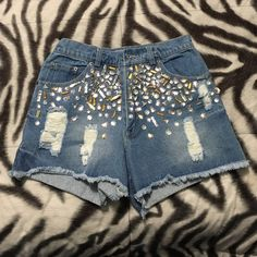Nasty gal Jeweled high waisted shorts Only worn once to a concert/rave! Jeweled and distressed. Super cute, can be styled with a crop top, bandeau, tank top underneath, so many different ways! Perfect condition Nasty Gal Shorts Jean Shorts