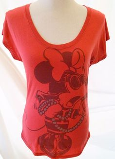 Women's Disney Tshirt  Minnie Mouse Paris Short Sleeve Red Size SP #Disney #EmbellishedTee
