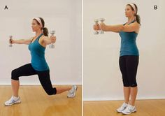 Front lunge with chest flies
