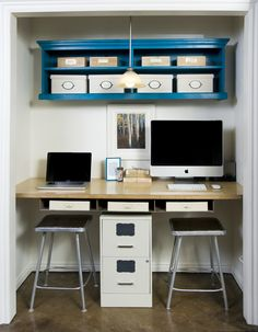 Inspiring Inexpensive Closet office Design Ideas: Attractive Closet Office Design Ideas For Two Person Completed With Pc Units And Stools ~ workdon.com Furniture Inspiration