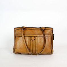 70s leather tote / zipper bag