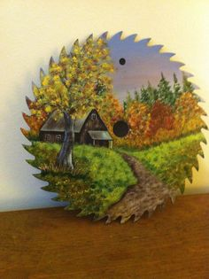 Hand Painted Fall Saw Blade