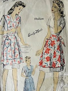 Beyond the cute feedsack style aprons ..I love the Hairstyles of the Era ..so Feminine ..