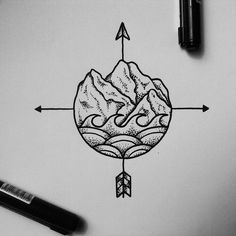 Working on the last sketch for Anne's traveller tattoo. [another nice tat with a compass feel. jh]