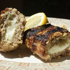Greek food grilling recipe for succulent minced lamb and/or veal patties stuffed with Kefalograviera or Feta cheeses.