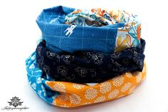 Patchwork-Loop-Schal in Lieblingsfarbe blau orange von #Lieblingsmanufaktur