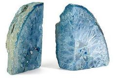 Round out a gorgeous display with this breathtaking pair of dyed-agate bookends.